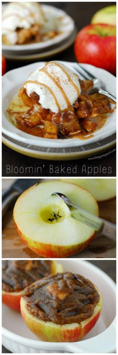 This Bloomin' Baked Apples recipe is a dessert version of the Bloomin' Onion that is perfect for fall! It tastes like apple pie with caramel on top! #WalmartProduce #client