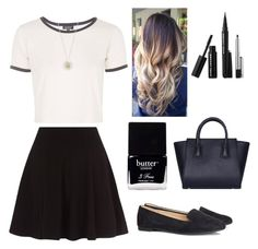 """Black and white casual"" by lewiskate-1 on Polyvore featuring Topshop, H&M, Daisy Jewellery, Sephora Collection and Butter London"