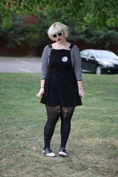 Festival Style! Dark outfit. Black overalls and black and white striped shirt