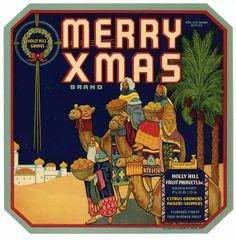 MERRY XMAS Vintage Davenport, Florida Citrus Crate Label, 9x9