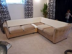 Replace attached back cushions on couch with cut-to-fit foam mattress