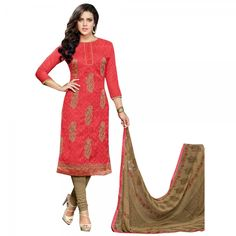 Buy Red Colour Pure Cotton With Embroidery Work Dress Material Online at cheap prices from Shopkio.com: India`s best online shoping site