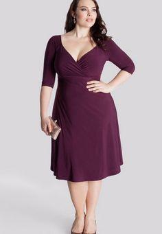 Elegant Purple V-Neck Half Sleeves Tea-Length Plus Size Party Dress ☺ ☻ ✿