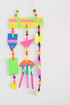 Neon modern mobiles for kids art class art lessons) под Diy Crafts For Kids Easy, Diy And Crafts Sewing, Crafts For Girls, Crafts To Sell, Arts And Crafts, Kids Diy, Kids Crafts, Neon Crafts, Summer Crafts