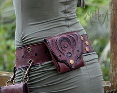 6 Pocket Convertible Leather Belt Bag UNISEX by MohanaDesigns