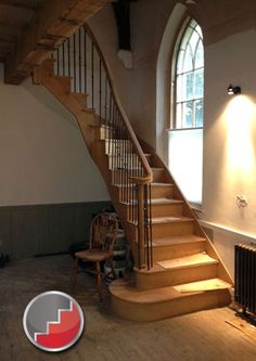 Inventive Staircase Design Tips for the Home – Voyage Afield Small Space Staircase, Staircase Landing, Winding Staircase, New Staircase, Curved Staircase, Staircase Design, Stair Design, Staircase Ideas, Basement Stairs
