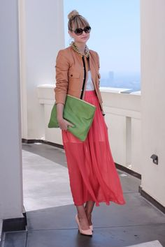 Coral Skirt, Neutral Jacket, Green Clutch.