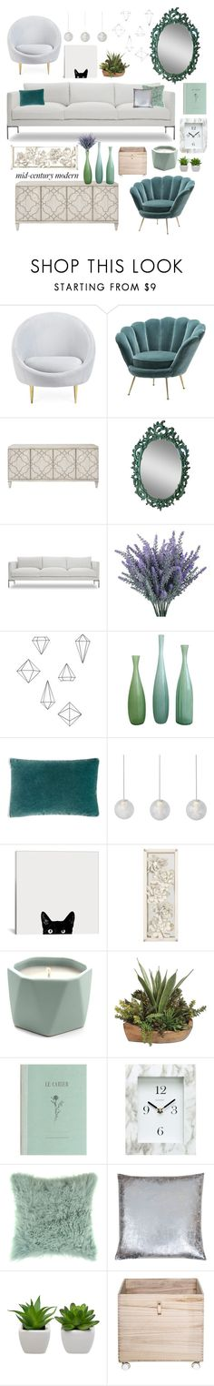 """Mid mod"" by lav-en-der-leaves ❤ liked on Polyvore featuring interior, interiors, interior design, home, home decor, interior decorating, Jonathan Adler, Umbra, Oly and Kevin O'Brien"