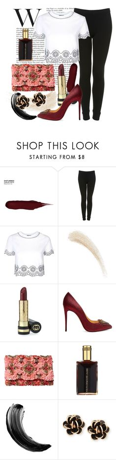 """""""W"""" by shellcp ❤ liked on Polyvore featuring Urban Decay, Topshop, Kevyn Aucoin, Gucci, Christian Louboutin, Oscar de la Renta, Estée Lauder and Chantecler"""