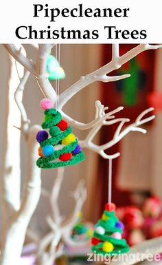 Pipe Cleaner Christmas Trees. Cherie didn't know it yet, but we are making these at her place for Christmas.