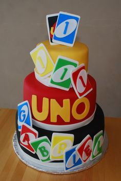 Uno Themed Cake For First Birthday