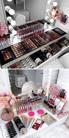 How To Clean And Sanitize Your Makeup Brushes & Beauty Blender FAQs - Elegant Makeup Room Ideas - Makeup Bedroom Organisation, Makeup Organization, Room Organization, Makeup Beauty Room, Makeup Rooms, Beauty Blender, Good Makeup Storage, Rangement Makeup, Make Up Studio