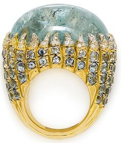 The one and only, Tony Duquette:  Aquamarine and Diamond Cabochon ring