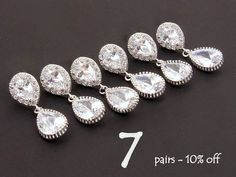 Crystal Earrings for Bridesmaids Set of 7 10% Off Unique Bridesmaid Gift Bridal Shower Gift Wedding Jewelry Set Bridal Party Jewelry