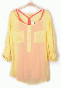 Thinking SPRING! Comfy Relaxed Yellow and Coral Double-deck Collarless Long Sleeve Chiffon Blouse