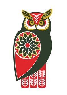 Animalarium: Sunday Safari - Folk friends Owl by Kate McLelland from Scotland, Owl Bird, Bird Art, Illustrations, Illustration Art, Friday Illustration, Whimsical Owl, Scandinavian Folk Art, Owl Always Love You, Owl Print