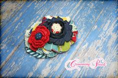 Dark Red Navy Blue Mustard Yellow Ivory Hair by CrowningPetals