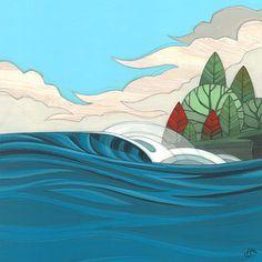 Surf Art by Erik Abel, exhibited on Club of the Waves. International Surfing Day artwork