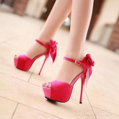 Sexy Red  Fashion Night Club Style Peep Toe Stiletto Heels High Platform Prom Shoes With Bownot .