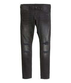 Black distressed low-rise jeans with 5 pockets & ultra-slim legs.│ H&M Divided Guys