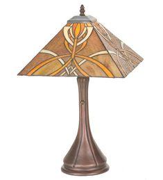 """Meyda 99033 Glasgow Bungalow Tiffany Style Stained Glass Table Lamp 21"""" #Meyda #StainedGlass"""