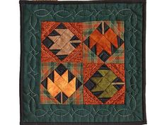 Maple Leaves Miniature Quilt -- exquisite handmade quilt from Lancaster PA. Meticulously made by an Amish woman in her own home. Country Quilts, Amish Quilts, Amish Country, Small Quilt Projects, Quilting Projects, Nine Patch Quilt, Fall Quilts, Miniature Quilts, Maple Leaves