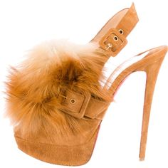 Pre-owned Christian Louboutin Fox Splash Fur Pumps (3.515 BRL) ❤ liked on Polyvore featuring shoes, pumps, brown, christian louboutin shoes, brown pumps, platform pumps, slingback pumps and peep-toe pumps