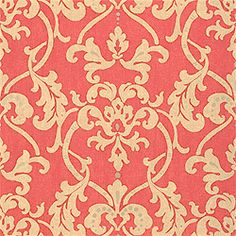 Owensboro #wallpaper in #coral from the Gatehouse collection. #Thibaut