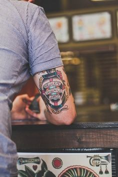 """Mens Arm Tattoo With """"Shelter Me Oh Genius Words"""""""