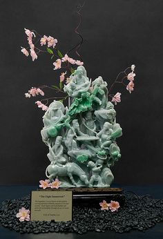 """Carved natural jadeite sculpture The """"Eight Immortals"""" in natural shades of green jadeite stands 12 inches tall by 5 inches wide. Gift of Sophie Leu; photo by Kevin Schumacher © GIA Le Jade, Rocks And Gems, Green Gemstones, Stone Carving, Chinese Art, Asian Art, Shades Of Green, Bellisima, Sculpture Art"""