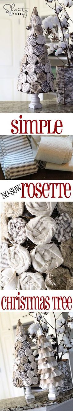 EASY No-Sew Rosette #Christmas Trees from Shanty-2-Chic.com // All you need is a hot glue gun! by isabelle07