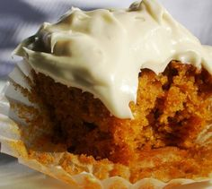 pumpkin cupcakes with killer vanilla cream cheese frosting, i pust out a couple dozen around thanksgiving
