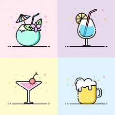 Drink icon collection in pastel color Pr. Design Ios, Icon Design, Flat Design, Doodle Icon, Doodle Art, Art Drawings For Kids, Easy Drawings, Color Vector, Vector Art