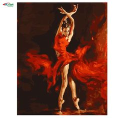 40x50cm Framed painting by numbers Red Dancing Girl e paint on canvas diy…