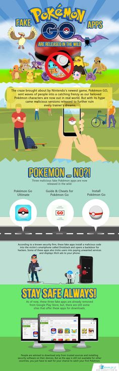 IT Security Services Australia warned users of fake Pokémon GO apps rounding up the web.  #Infographics #PokemonGO  https://houseofit.com.au/fake-pokemon-go-apps-are-released-in-the-wild/