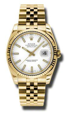 Rolex Watches - Datejust 36mm - Gold Yellow Gold - Fluted Bezel - Jubilee - Style No: 116238 wsj