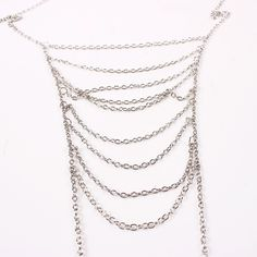 It is a body jewelry which can embellish your body more fascinating and enticing when you wear solid color clothes or bikini. It is in a multi-layer chain design. And the size can't measure. The material of the jewelry is alloy. It is really a boho style. The perimeter of the body chain is about 140cm. The style of the body chain is gorgeous, that is much suitable for young girls.