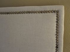 DIY Linen Headboard with nailhead trim(my next project already have the linen bought and ready to go! Nailhead Headboard, Headboard Cover, King Size Headboard, Diy Headboards, Nailhead Trim, How To Make Headboard, Trim Nails, My New Room, Crafts To Do