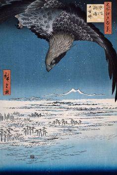 utagawa hiroshige, bird of prey ukiyoe,  night hawk,  snow,  is this an osprey?? - Hiroshige