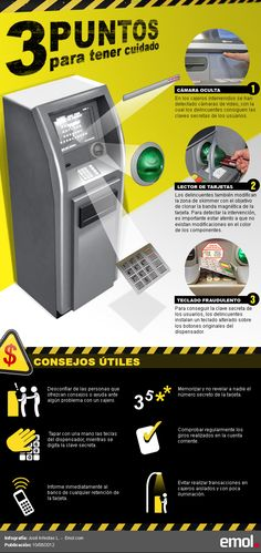 Cómo los delincuentes interviene en los cajeros automáticos #infografia