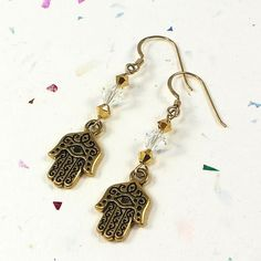 Gold Hamsa and Swarovski Gold and Crystal AB Earrings | SolanaKaiDesigns - Jewelry on ArtFire