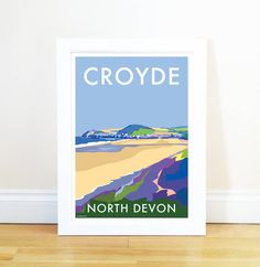 Croyde vintage style travel poster and seaside print forms part of the British Coastlines travel art collection. Created by Devon Artist Becky Bettesworth. Beach Sketches, Devon Coast, Working Drawing, North Devon, Illustrations, Old World Charm, Sign Printing, Vintage Posters, Retro Posters