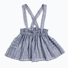 The sweetest skirt with suspenders and big pockets in 100% linen and stripes. 100% Linen - Made in Spain.