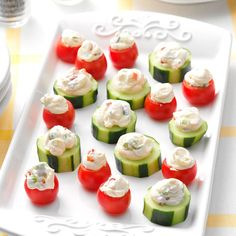 Cherry tomatoes and cucumber slices make these savory, bite-size treats ideal for parties.   Inside-Out Veggie Dip Recipe from Taste of Home