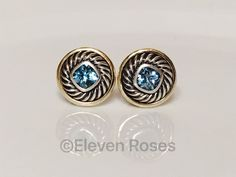 David Yurman Earrings 925 Sterling Silver 585 14k Gold Classic Cable Extra Large Disc Cookie Post Earrings by CrackerJackDiamonds on Etsy