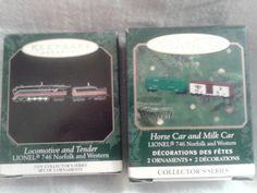 Hallmark Lionel 746 Norfolk Locomotive Tender Horse and Milk Cars Mini Ornament Train Ornament, Hallmark Christmas Ornaments, Western Decor, New Set, Norfolk, Locomotive, Trains, Milk, Horse
