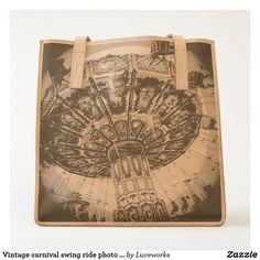 Vintage retro carnival swing ride photo leather tote