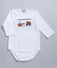 White Trucks Smocked Bodysuit - Infant