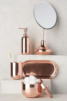 Rose gold bathroom accessories - yes please! New Arrivals Bath Accessories, Home Decor Accessories, Decorative Accessories, Copper Accessories, Rose Gold Room Accessories, Fashion Accessories, Bad Inspiration, Bathroom Inspiration, Furniture Inspiration