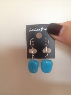 Blue Stone Dangle earrings Perfect As A by ScarlettSkyProducts